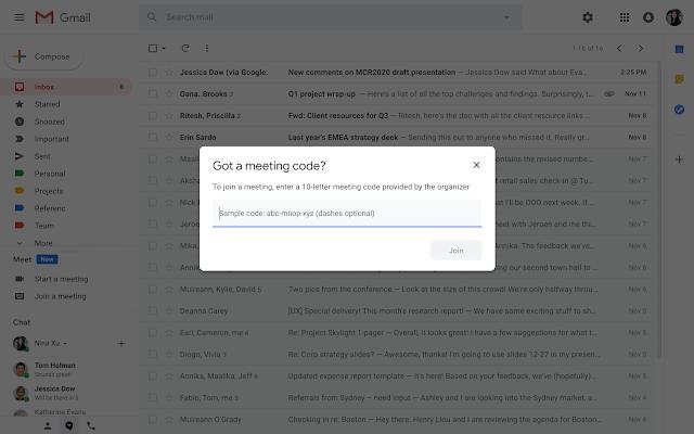 Google Meet, Start or join a Google Meet video meeting directly from Gmail
